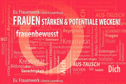 rote Postkarte mit weißer Schrift - Copyright: Ev. Frauenwerk