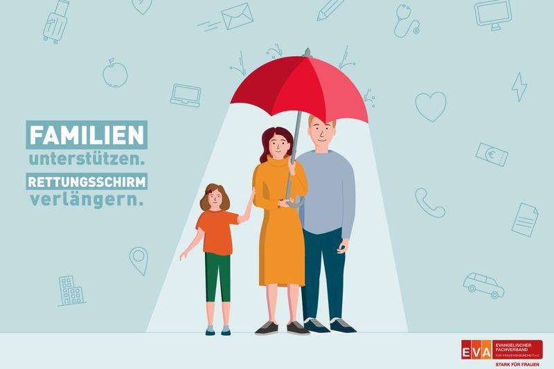 Zeichnung Eltern mit Kind unter Regenschirm